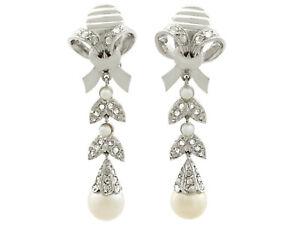 0.54 ct Diamond Pearl 18Carat White Gold Drop Earrings - Vintage Circa 1960