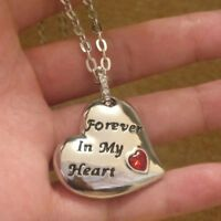NEW Engraved Red Heart Silver Necklace Love Xmas Gifts For Her Wife Ladies Women