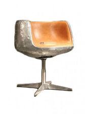 Design Schalensessel Stenness Alu Sessel Drehsessel Ledersessel Vintage braun