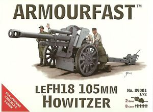 Armourfast 1/72 leFH18 105mm Howitzer & Crew (2 Kits in Box)