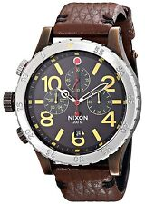 Nixon THE 48-20 CHRONO LEATHER Antique Copper Brown Men's Watch A363 1625