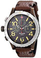 Nixon THE 48-20 CHRONO LEATHER Antique Copper Brown Men's Watch A363 1625