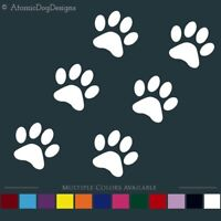 PAW PRINTS STICKERS (Set of 6) decals cat dog pets vehicle window wall business