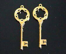 50 Santa Wedding Keys Skeleton Gold Golden Large Charm Pendant 77mm (C21)