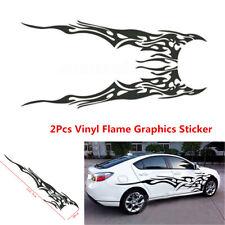 2Pcs Vinyl Flame Graphics Car Sticker Racing Body Side Stripes Sticker Universal