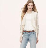 NWT Ann Taylor Loft Whisper White Chunky Ctn Open Shawl Cardigan Sweater $69 M-L