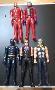 """Marvel 12"""" Titan Hero Figure Bundle Black Panther Thor Hawkeye Iron Man Antman"""