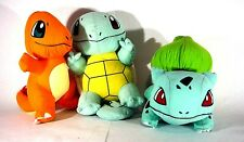 Pokemon Bulbasaur, Charmander and Squirtle Plush Stuffed Animal Nintendo Lot