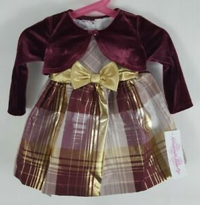 Bonnie Jean Baby Girl 3/6 M Holiday Gold Bow Plaid Dress w/ Velvet Jacket $60