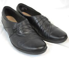 4cf5f2d3 Clarks Soft Cushion Shoes Slip On Black Leather Flats Oxford Stretch Casual  8.5