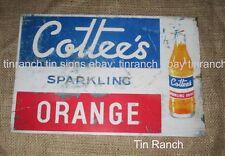 new vintage COTTEES TIN SIGN orange drink RUSTIC DELI cool soda bottle milk bar