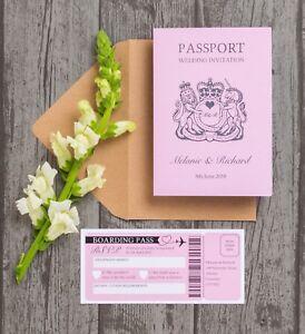 Personalised Passport Destination Travel Overseas Wedding Invitation & RSVP