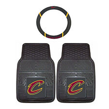 NEW NBA Cleveland Cavaliers Rubber Floor Mats & Steering Wheel Cover 3PC Combo