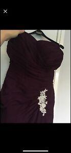 Purple Grape Wine Prom Evening Wedding Bridesmaid Dress Gown Size 12