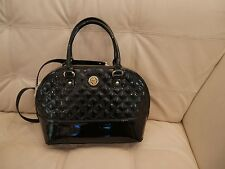 NWT ANNE KLEIN BLACK PATENT LEATHER GOLD QUILTED PURSE SATACHEL SWEET DEBUT