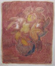 "MARGARET FRANCIS AUSTRALIAN MONOPRINT ""STILL LIFE FLOWERS"" C 1960"
