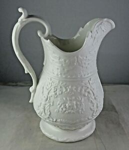 Small Vintage Parian Ware Pitcher Ornate Raised Scrolls