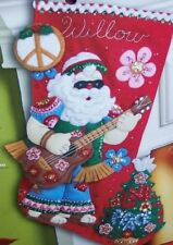 "Bucilla ""LOVE & PEACE SANTA"" Felt Christmas Stocking Kit Guitar VERY RARE 18"""