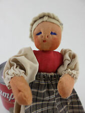 """Vintage Stockinette Cloth Rag Doll Wire Body Stitched Face Hand Made 7"""""""