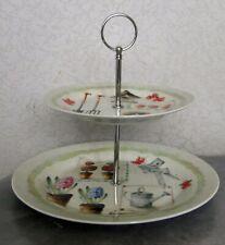 Présentoir à  gateaux petits fours toasts aperitif 2 plateaux ceramique