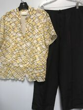 Alfred Dunner Size 16 Black Pants Yellow Blouse Lot Suit Set