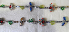 Vtg Beaded Sequined TRIMMINGS Blue Yellow Green Red Orange Silver, India, 1 Yard