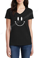 Ladies V-neck Smiley Face T Shirt Smile Happy Funny T-shirt Tee Fun Humor Gift