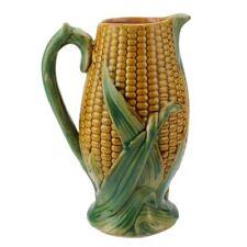 Antique Majolica Corn Milk Jug Pitcher