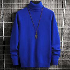 Para Hombre de Punto Alto Rollo Suéter Cuello Manga Larga Caliente Jersey