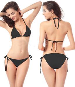 WOW Black Bikini Size 6 8 10 12 Black Tie Side Bikinis Ladies Swimwear