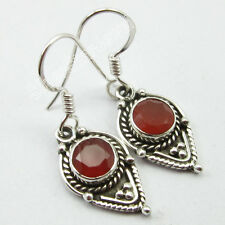 """925 Stamped Solid Sterling Pure Silver CARNELIAN ETHNIC Earrings 1.2"""""""