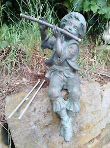Wasserspeier Flötenspieler Wasserspiel Bronze Skulptur Figur Plaste