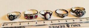 925 Sterling Silver Vintage Rings diamonds rubies opal hallmarked amethysts vgc