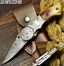 Louis Martin Hand Made Damascus Camel Bone Hunting Folding Knife Liner Lock