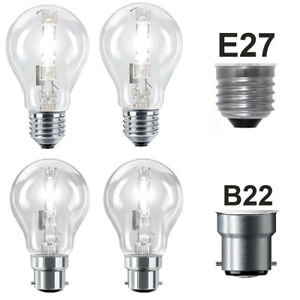 2x Eveready ECO Halogen Dimmable GLS Bulbs BC ES 33w = 40w 48w = 60w 80w = 100w