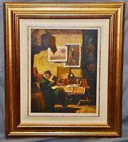 Ölgemälde Kopie nach Spitzweg, sig. Bridel, 20 x 25 cm, gerahmt