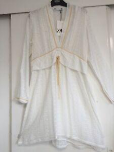 ZARA LIMITED EDITION CUTWORK EMBROIDERY DRESS IN VISCOSE SIZE L BNWT £79.99
