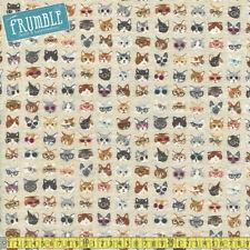 Kokka Fabric Cotton/Linen Animal World Clever Cats Natural PER METRE Kitten Kitt