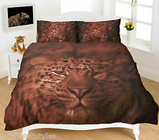 LEOPARD  DUVET QUILT COVER  PILLOW CASES BEDDING SET SINGLE DOUBLE KING S KING