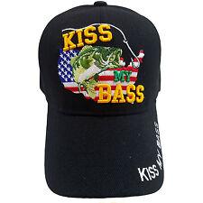 KISS MY BASS On US Map Fishing Adjustable Baseball  Black Cap