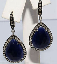VICTORIAN LOOK 2.30CT ROSE CUT DIAMOND SILVER SAPPHIRE EARRING FREE SHIPPING