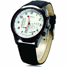 Genuine Leather Band Men's Matte Analogue Wristwatches