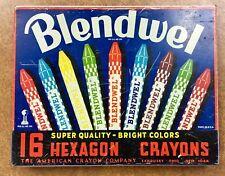 {Bjstamps} Rare Vintage Blendwel Crayon Tin Box Sandusky Ohio & Ny