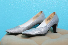 Miss Bally Vintage Silver Sparkle Glitter Pinup Shoes Kitten Heels Size 7 1/2