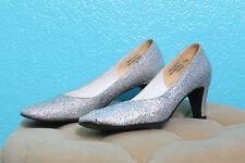 Vintage Miss Bally Heels Size 7.5 Silver Sparkle Glitter Pinup Shoes Kitten Vlv