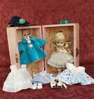 """Vintage 1953 Vogue Ginny """"Party"""" Doll w/ 3 Extra Tagged Outfits, Shoes & Trunk"""