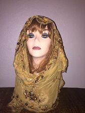 Golden Long Scarf Hijab Wrap Sheer pretty and fashionable w/metallic thread !!