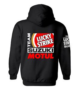 LUCKY STRIKE SUZUKI Motor Bike Inspired Hoody Hoodie Shirt