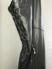 Harley Davidson Soft Lined Leather Beltless Chaps Corset Style Laces Womens Med