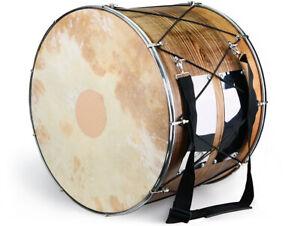 Orientalische Profi 53 cm. DAVUL Dhol Schlagzeug NUßBAUM mit Naturfell